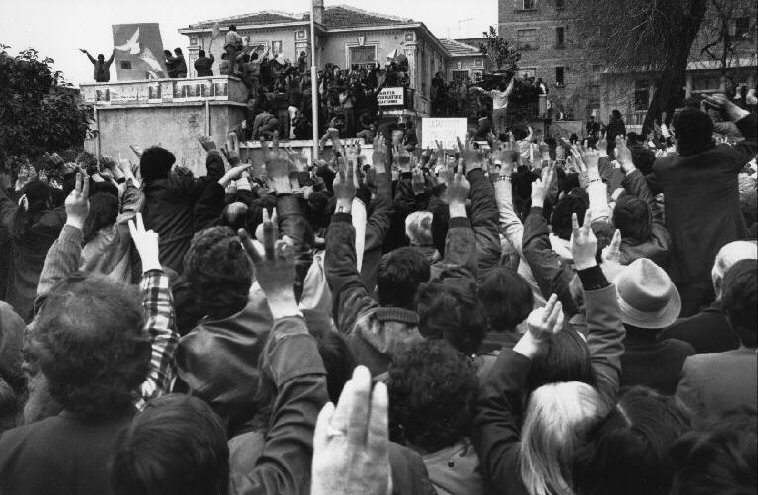ALBANIA. Tirana. 23 March 1992. In front of the Democratic Party's head office.