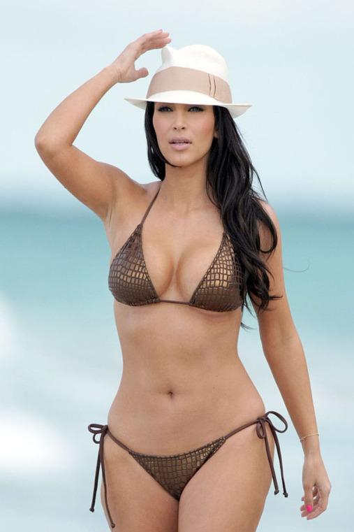 EXCLUSIVE: Kim Kardashian in bikini pictured on the beach in Miami