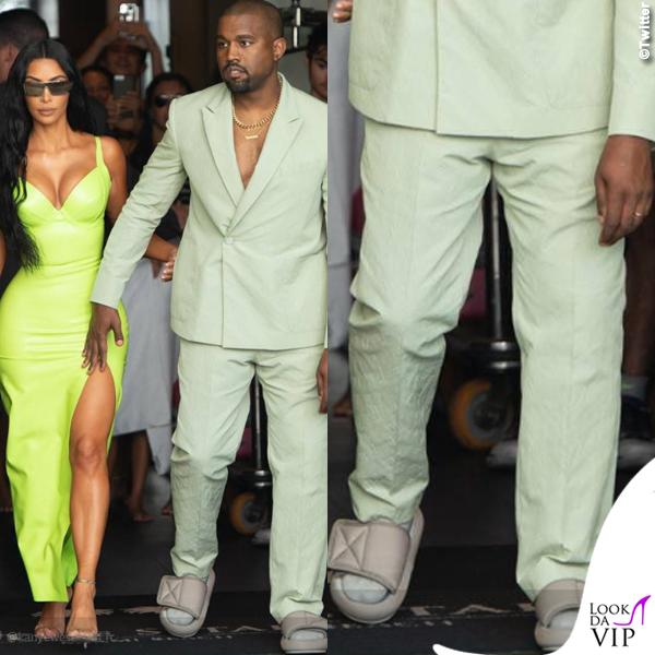 Kim-Kardashian-abito-atsuko-kudo-scarpe-Gianvito-Rossi-Kanye-West-abito-Louis-Vuitton-ciabatte-Yeezy-2