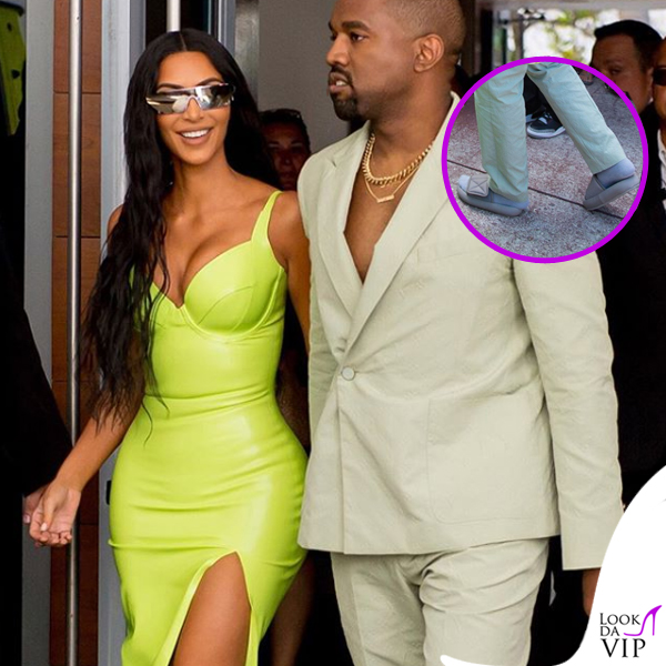 Kim-Kardashian-abito-atsuko-kudo-scarpe-Gianvito-Rossi-Kanye-West-abito-Louis-Vuitton-ciabatte-Yeezy