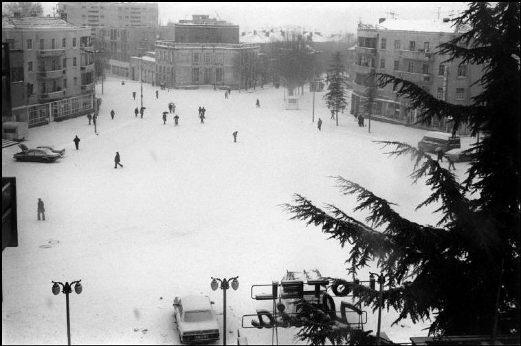 ALBANIA. Korce. 1994. Snowcovered main square.