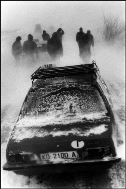 ALBANIA. 1994. Snow blizzard on the road to Korce.