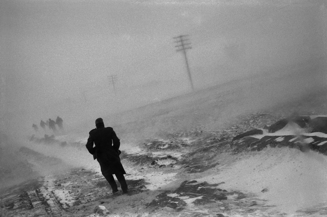 ALBANIA. 1994. Snow blizzard on the road to Korce. Soldiers.