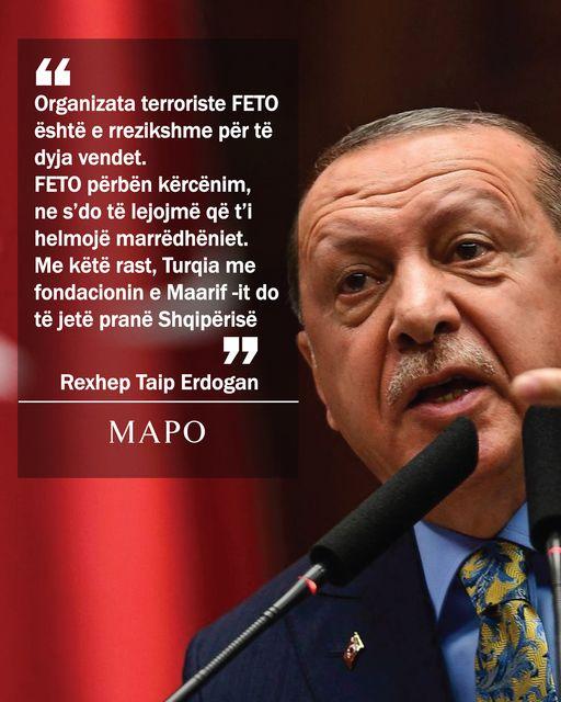 Erdogan: Organizata terroriste FETO është e rrezikshme për të dyja vendet